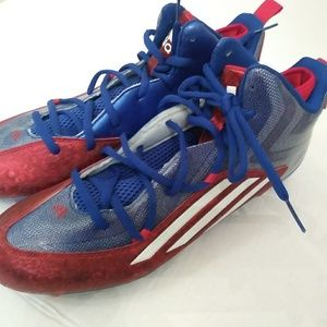 Adidas Men's Sz 15 Red White Blue Football Cleats